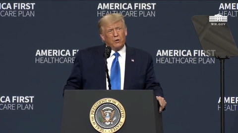 President Donald Trump speaks at an event unveiling healthcare orders