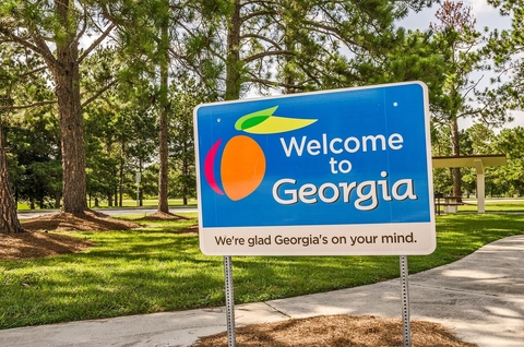 """Sign that reads """"Welcome to Georgia"""""""