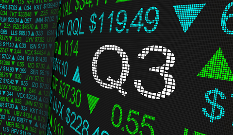 A stock ticker showing Q3 results
