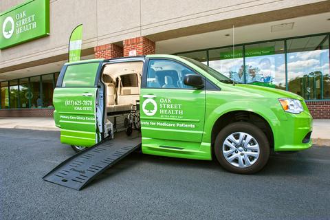 "Green van that says ""Oak Street Health"""