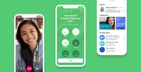 smartphones with screenshots of Talkspace mental health app