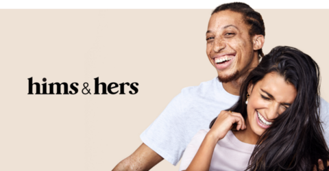 Hims & Hers wellness branding with a man and a woman