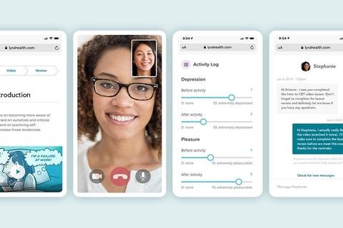 smartphone screens with screen shots of Lyra Health's virtual mental health tools