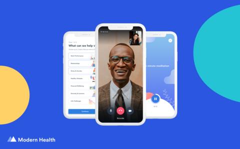 three smartphones with screen shots of Modern Health's mental health app