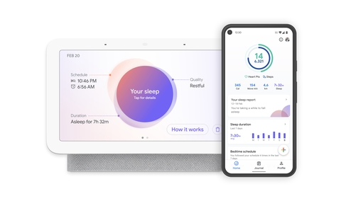 Google's Nest Hub smart display and Google Fit app with screenshots of sleep tracking feature