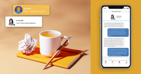 a coffee cup next to a pad of paper and pencil and a smartphone with a screen shot of the Ginger app