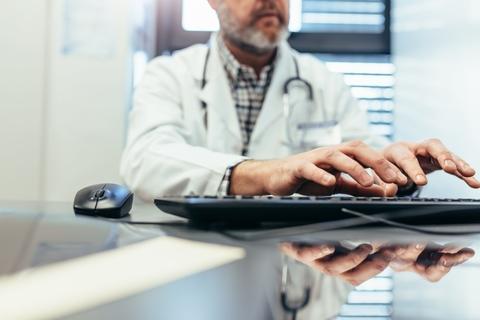 Doctor computer keyboard