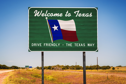 """A road sign reading """"Welcome to Texas"""""""