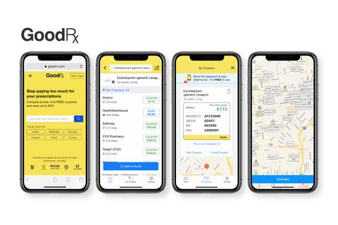 smartphone screens showing the GoodRx prescription discount app