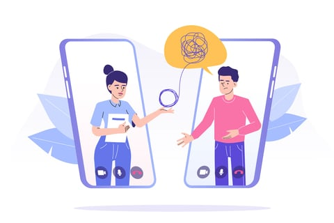 Online psychotherapy concept. Female psychotherapist helping patient by video call through smartphone.