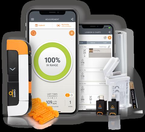 smartphones showing screenshots of DarioHealth's digital chronic condition management solution