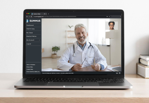 a laptop screen showing a live virtual session with a specialty provider
