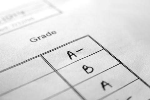 Closeup of report card grades