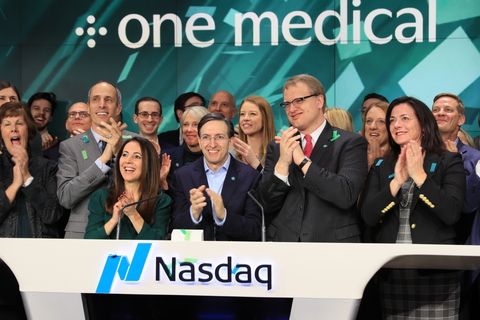 Staff and executives at One Medical ring the Nasdaq opening bell January 31