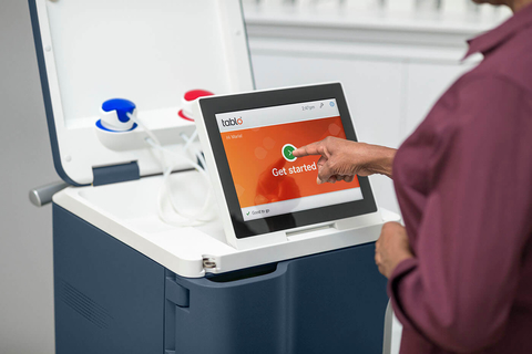 patient uses Outset Medical's portable dialysis machine