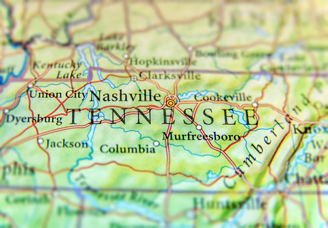 A map showing the state of Tennessee