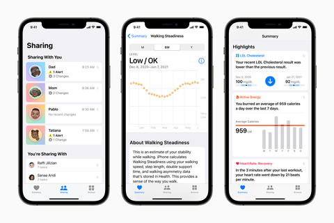 Screenshots of new health monitoring features coming to iPhones in 2021