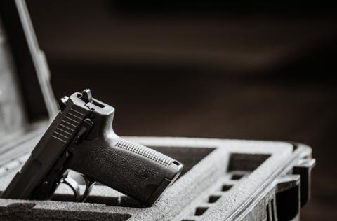 Image of a handgun in a safety case