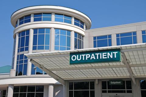 Outpatient Sign over a Hospital Outpatient Services Entrance