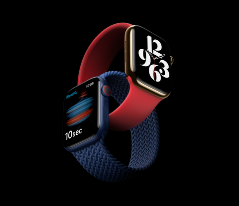 product shots of Apple Watch Series 6 showing blood oxygen tracking feature