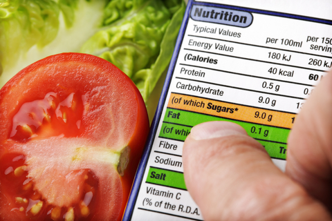 A nutrition label with a salad in the background