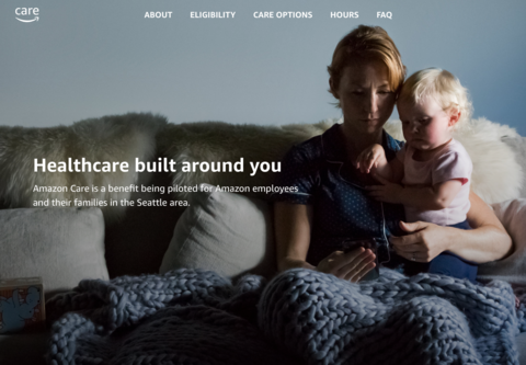 A screenshot of the new website for Amazon Care