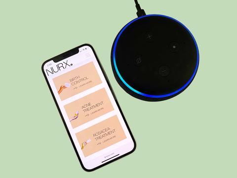 smartphone with screenshot of Nurx app and Amazon Alexa device