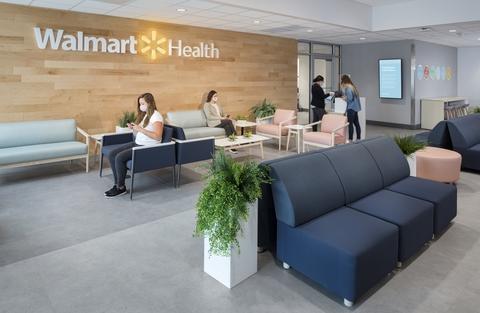 A waiting room for a Walmart Health clinic