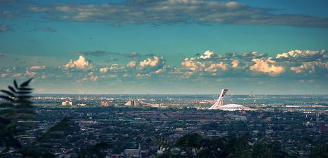 Olympic Stadium, seen next to the Montreal Botanical Garden.