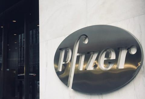 Pfizer  headquarters logo sign