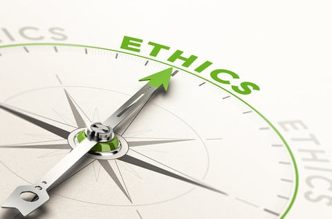 """a compass pointing to """"ethics"""""""