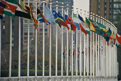 United Nations flags flying in session