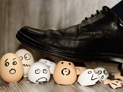 Boot stepping on eggs