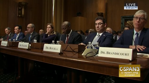 Seven pharma execs faced a U.S. Senate committee at a drug pricing hearing on Tuesday