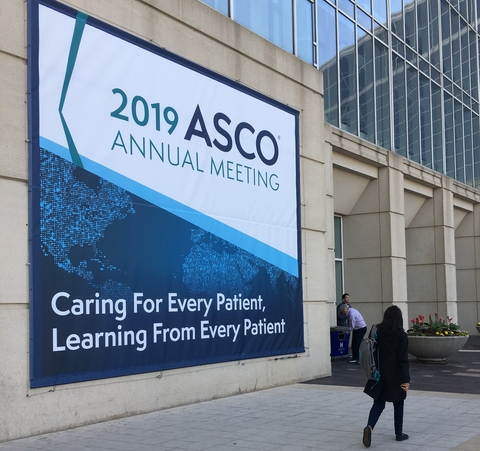 ASCO 2019 sign outside McCormick Place