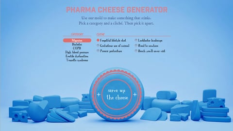 "FCB Health agency Neon's ""pharma cheese"" ad generator screen shot"