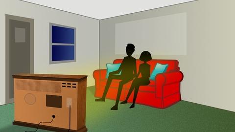 People watching TV illustration