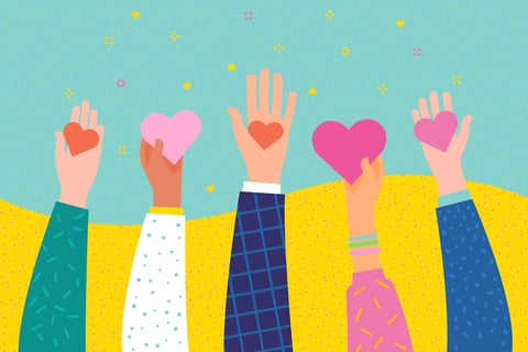 hands holding hearts graphic design