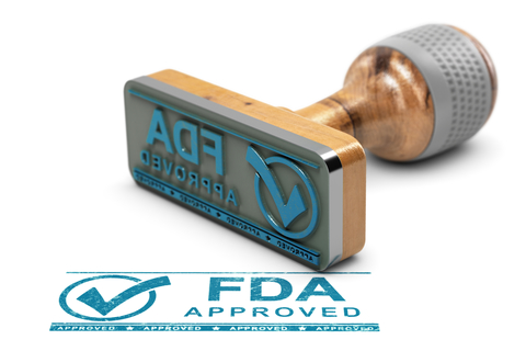 """Stamp with blue ink that says """"FDA Approved"""""""