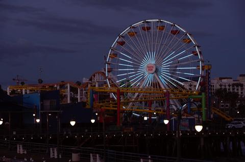 Santa Monica Pier ferris wheel lights teal for MG Awareness/Argenx
