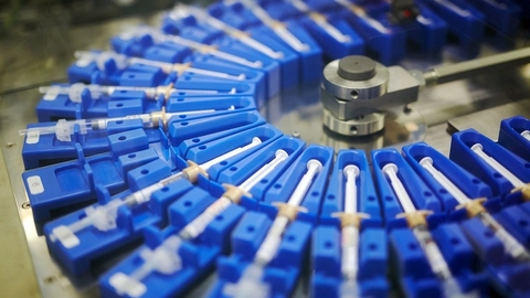 Pre-filled syringes on Takeda production line in Hikari Japan manufacturing plant