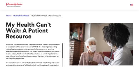 "Johnson & Johnson campaign art ""Health Can't Wait"""