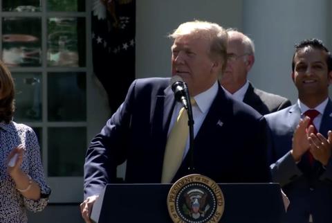 President Donald Trump gives a speech on HRAs