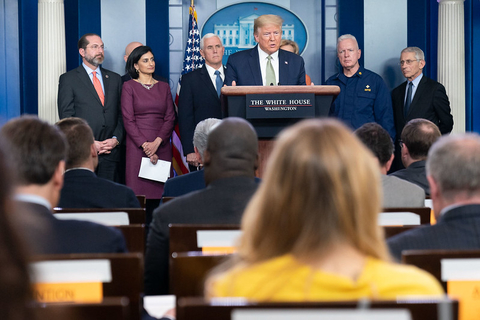 President Donald Trump speaks at a press briefing on the COVID-19 pandemic