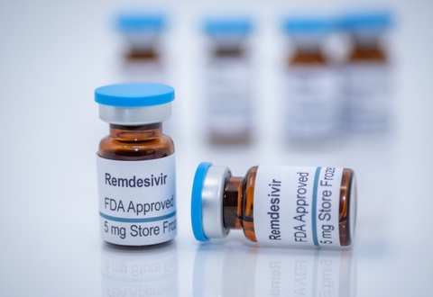 vials of Gilead Sciences COVID-19 coronavirus drug remdesivir on white background