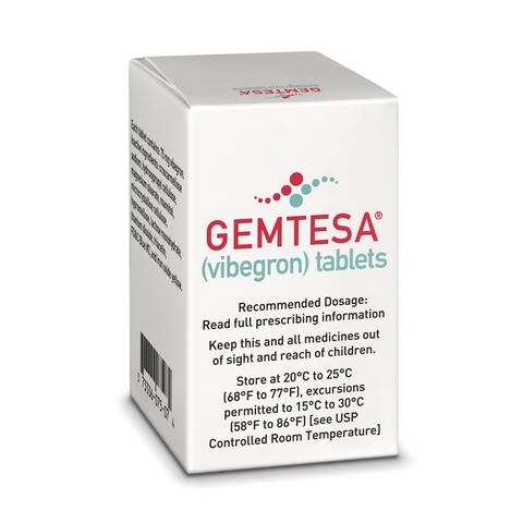 Urovant Sciences overactive bladder med Gemtesa product shot