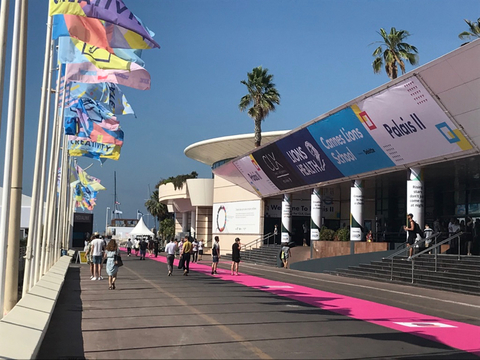 Flags outside Cannes Palais II at Cannes Lions Health 2019