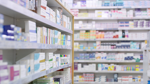 Drugs on the shelves at a pharmacy