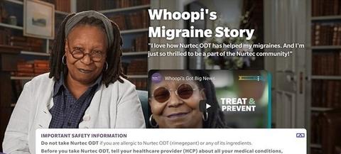 Biohaven Nurtec ODT Whoopi Goldberg ad