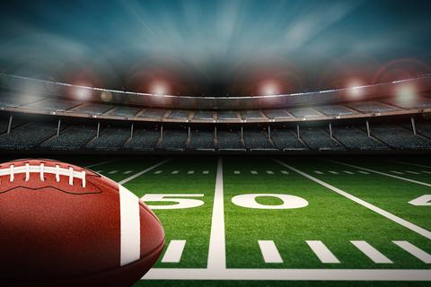 Football at 50 yard line